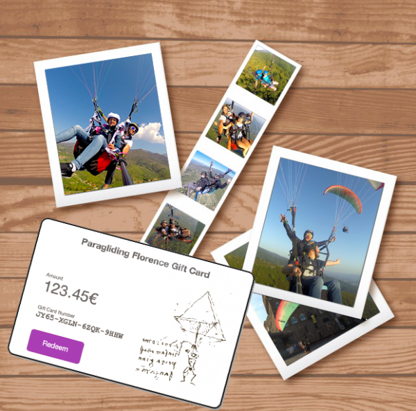 Tandem Paragliding Gift Card with Paragliding Florence